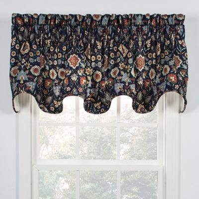 Adelle Scallop Window Valance In Navy
