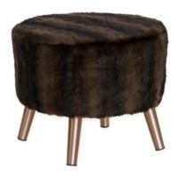 Skyline Furniture Brooker Faux Fur Round Ottoman in Brown