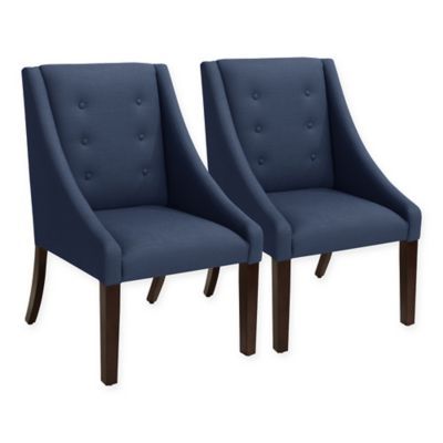 skyline furniture devo swoop dining chairs in linen navy set of 2 - Navy Dining Room Chairs
