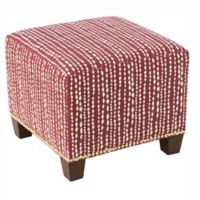 Skyline Furniture Medford Ottoman in Line Dot Holiday Red