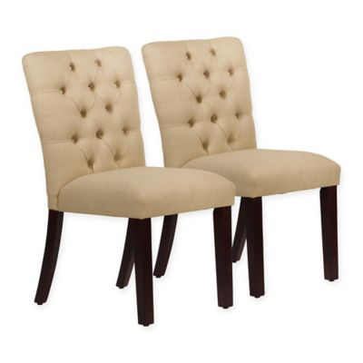 skyline furniture sherwood tufted dining chairs in linen sandstone set of 2