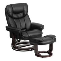 Flash Furniture Contemporary Recliner and Ottoman Set in Black