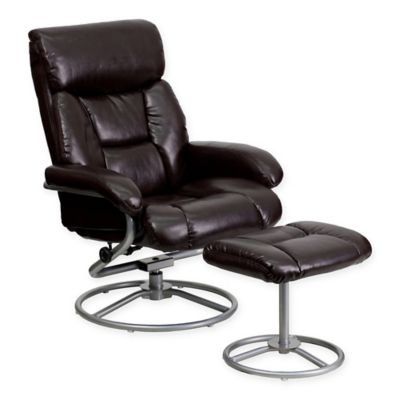 Flash Furniture Contemporary Leather Recliner And Ottoman Set In Brown
