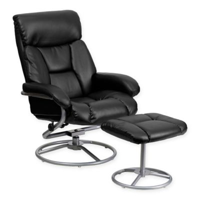 flash furniture leather recliner and ottoman set in black