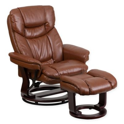 Flash Furniture Vintage Leatherette Recliner And Ottoman In Brown