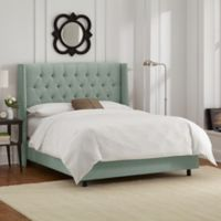 Skyline Furniture Abbie Wingback King Bed with Upholstered Headboard in Swedish Blue