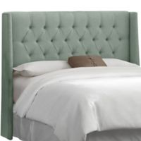 Skyline Furniture Abbie Queen Wingback Headboard in Swedish Blue