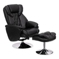 Flash Furniture Transitional Recliner and Ottoman in Black