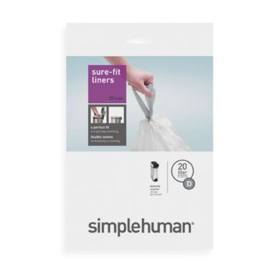 simplehuman code d 20pack 52gallon custom fit liners