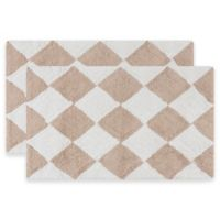Safavieh 21-Inch x 34-Inch Harlequin Bath Mats in Cream/Beige (Set of 2)
