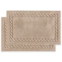 Safavieh 27-Inch x 45-Inch Cable Plush Bath Mats in Linen (Set of 2)