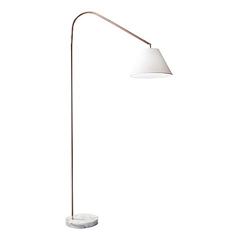 Buy adessor willa arc floor lamp in copper with linen for Arc floor lamp with copper shade