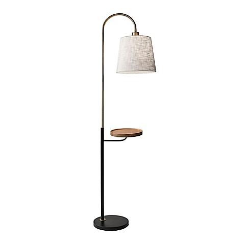 Adessor jeff floor lamp in antique brass bed bath beyond for Shelf floor lamp bed bath and beyond