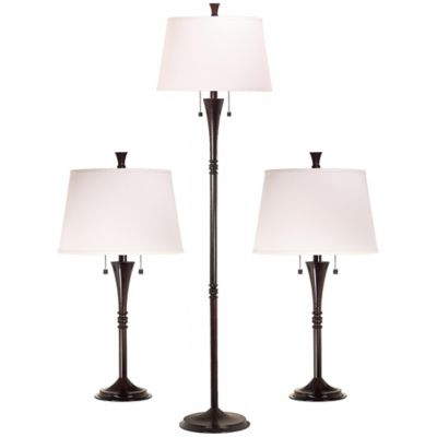 Kenroy Home 3 Piece Park Avenue Lamp Set In Oil Rubbed Bronze With White Fabric