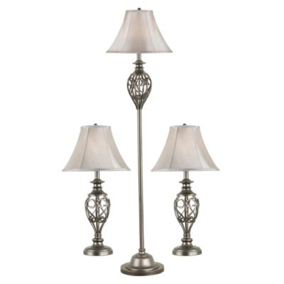 Kenroy home cerise 3 piece lamp set in silver with fabric shade