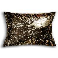 Torino Scotland Cowhide Square Throw Pillow in Chocolate/Gold