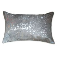 Torino Scotland Cowhide Square Throw Pillow in Silver/Grey