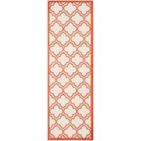 Safavieh Amherst 2-Foot 3-Inch x 7-Foot Clove Indoor/Outdoor Area Rug in Ivory/Orange