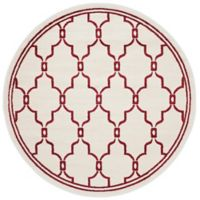 Safavieh Amherst 7-Foot x 7-Foot Quake Indoor/Outdoor Area Rug in Ivory/Red
