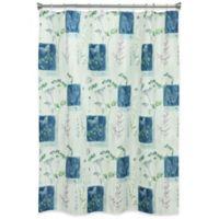 Bacova Indigo Wildflower Shower Curtain in Blue/Ivory