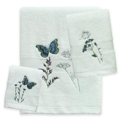 bacova indigo wildflower fingertip towel - Fingertip Towels