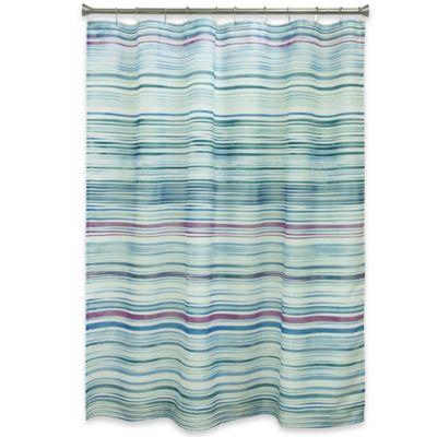 teal striped shower curtain. Bacova Indigo Stripe Shower Curtain in Blue Buy Striped Curtains from Bed Bath  Beyond