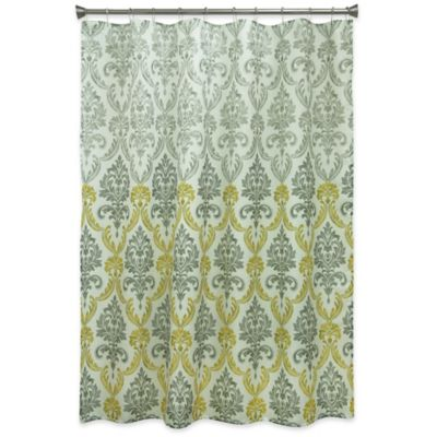 Superb Bacova Portico Damask Shower Curtain In Yellow/Grey