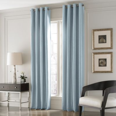 valeron lustre solid 84 inch window curtain panel in blue - Blue And White Window Curtains