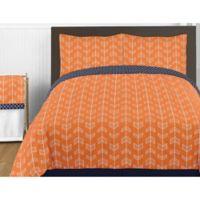 Sweet Jojo Designs Arrow Full/Queen Comforter Set in Orange/Navy