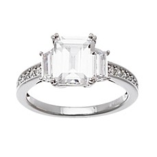 18k white gold plated sterling silver cubic zirconia
