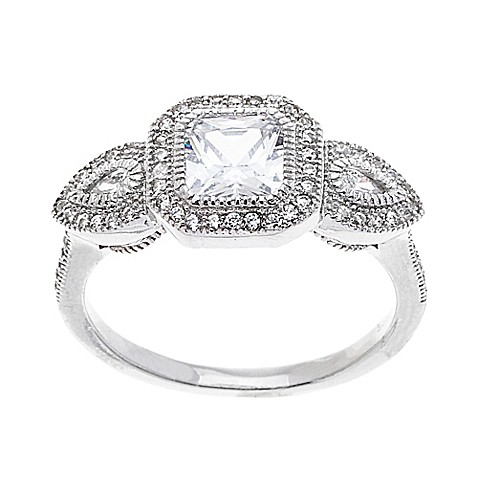 18k white gold plated cubic zirconia square