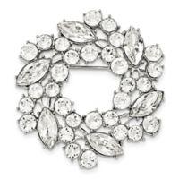 1928® Jewelry Silvertone White Crystal Wreath Brooch