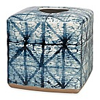 Shibori Geometric Boutique Tissue Box Cover in Indigo