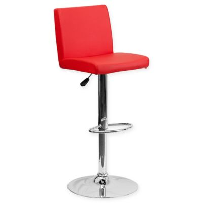 flash furniture height adjustable vinyl barstool in red