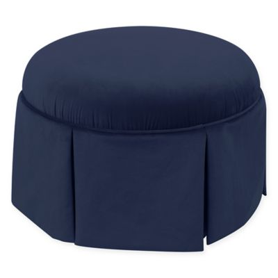 Skyline Furniture Telly Skirted Ottoman in Navy - Buy Navy Storage Ottoman From Bed Bath & Beyond