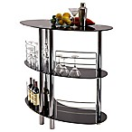 Winsome Trading 3-Shelf Martini Bar in Black/Stainless Steel