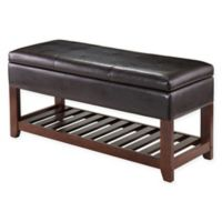 Winsome Trading Monza Storage Bench with Cushion Seat in Walnut