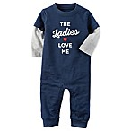 "carter's® ""Ladies Love Me  Size 3M Coverall in Navy"