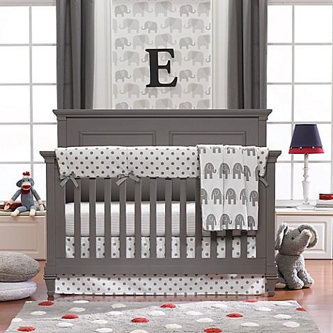 Liz And Roo Elephants 3 Piece Crib Bedding Set In Grey