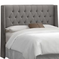 Skyline Furniture Abbie Wingback Full Headboard in Linen Grey