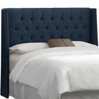 Skyline Furniture Abbie Wingback Queen Headboard in Linen Navy