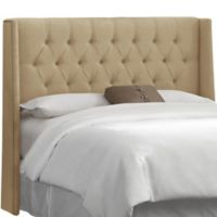 Skyline Furniture Abbie Wingback Queen Headboard in Linen Sandstone