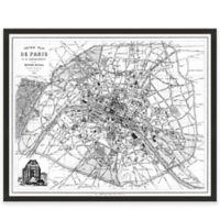 Black and White Paris Map Canvas Wall Art