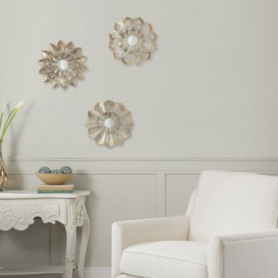 Product Image For Metal Flower Wall Art In Ivory/Gold (Set Of 3)