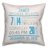 Birth Announcement Pillow in Blue