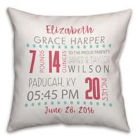 Birth Announcement Pillow in Pink