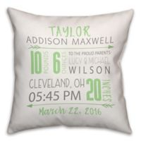 Birth Announcement Pillow in Green