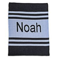 Butterscotch Blankees Striped Crib Blanket in Blue/Charcoal