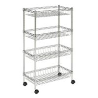 Safavieh Mario 4-Tier Wire Basket Rack in Chrome