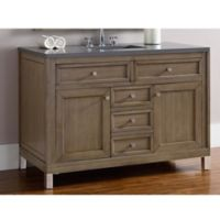 James Martin Furniture Chicago 48-Inch Single Vanity with Quartz Top in Walnut/Grey